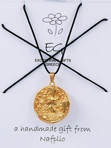 Μενταγιόν Άρμα Χρυσό με μαύρο σχοινί
